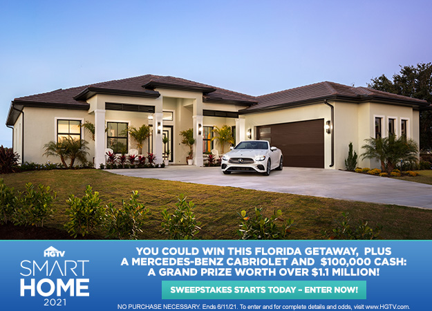 HGTV Smart Home Giveaway starts today! You could win a Florida getaway, plus a new convertible and $100,000 cash, enter now!
