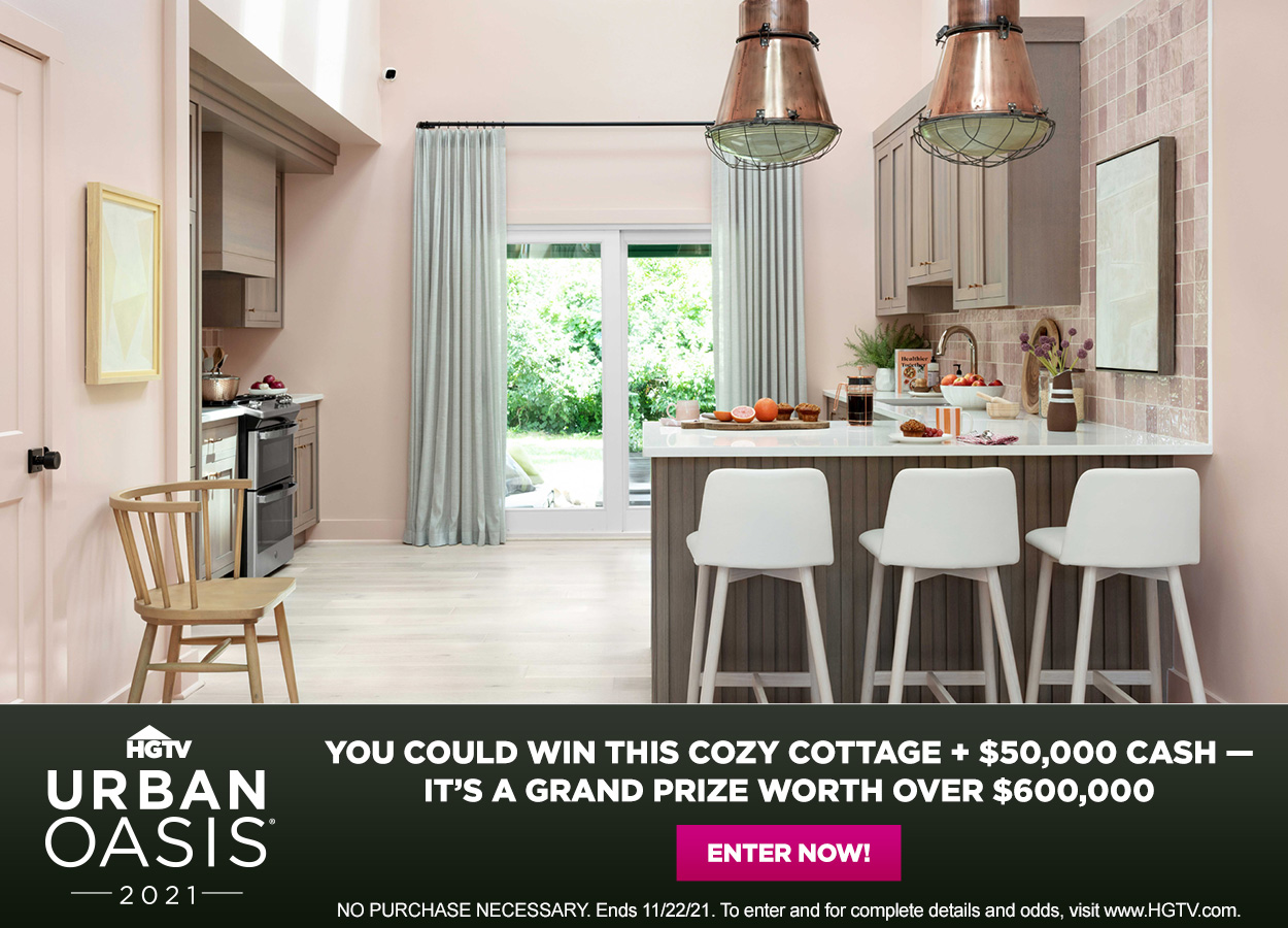 HGTV Urban Oasis Giveaway - Enter twice a day for your chance to win a cozy cottage plus $50,000 cash, a grand prize worth over $600,000!